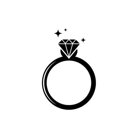 Ring diamond icon. Vector on isolated white background. Ilustrace