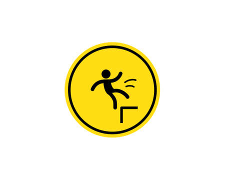 Caution, possible fall from height. Attention is dangerous. Warning sign. Security measures. Yellow round with a black image. Vector on isolated white background