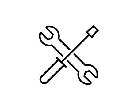 Wrench and screwdriver line icon. Settings sign. Tool. Vector on isolated white background