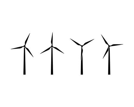 Silhouettes of wind turbines icon set. Wind farm energy sign. Green electricity. Offshore. Vector on isolated white background Stock Illustratie