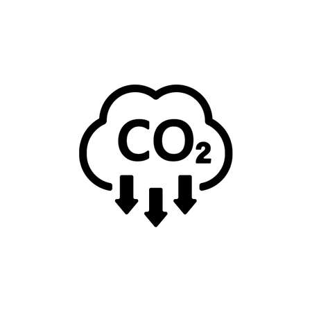 CO2 icon. Carbon dioxide emissions reduction sign. Vector on isolated white background. EPS 10.