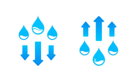 Humudity level up and down icon. Water cycle. Vector on isolated white background. EPS 10. Stock fotó - 154675501