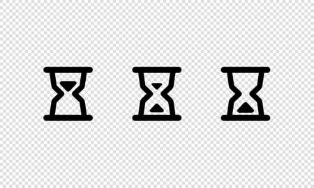 Hourglasses icon set. Sand time. Vector on isolated transparent background.