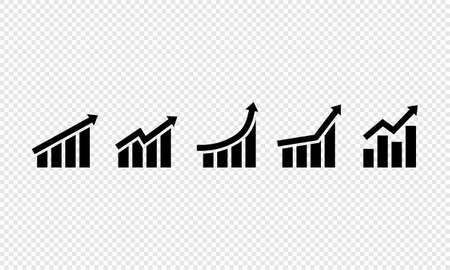 Growing grap icon set. Business growth success chart with arrow. Vector on isolated transparent background. EPS 10.