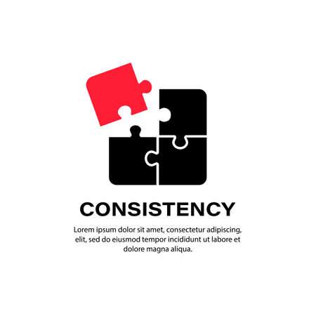 Consistency icon. Puzzle. Business concept. Vector on isolated white background. Ilustración de vector