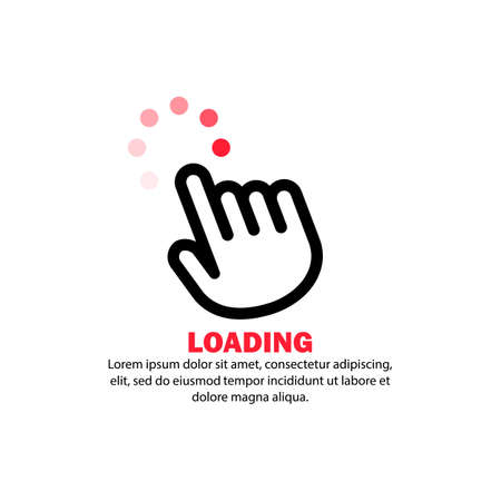Hand cursor icon. Loading sign. Computer using concept. Vector on isolated white background.