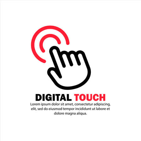 Digital touch icon. Clicking hand cursor. Vector on isolated white background.