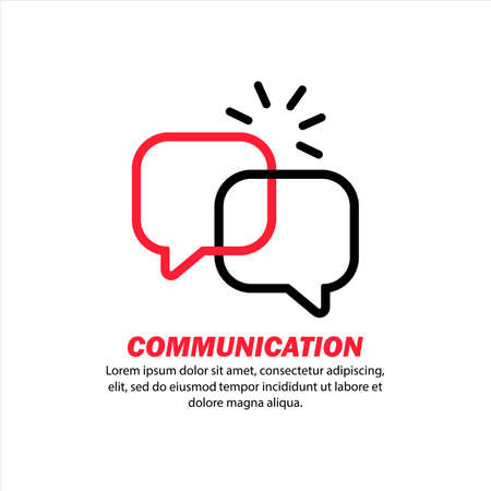 Communication icon. Online message. Social network user. Chat bot. Service support. Sociology research. Vector on isolated white background.