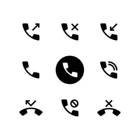 Phone activity icon in black. Rejected, missed, incoming and outgoing call.