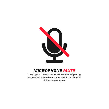 Microphone audio mute icon. Communication. Speech. Volume. Vector on isolated white background.