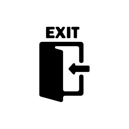 Emergency exit icon in black. Evacuation. Vector on isolated white background.