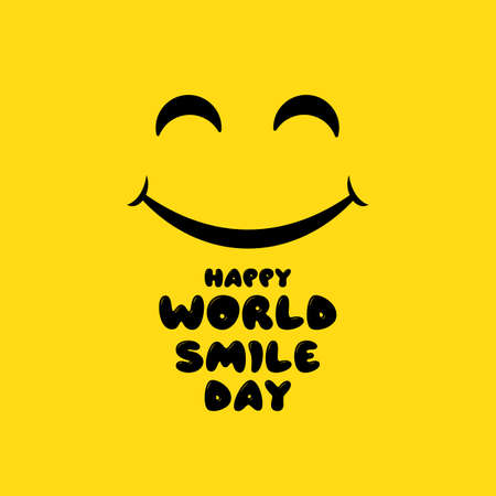 Happy world smile day banner. Good mood. Fun concept. Vector on isolated background.