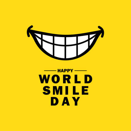 Happy world smile day banner. Joy, laught, fun. Good emotion concept. Vector on isolated background.