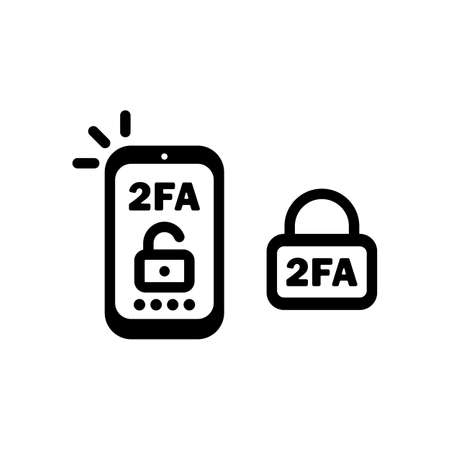 2FA line icon in black. Two factor authentication icon. Security.
