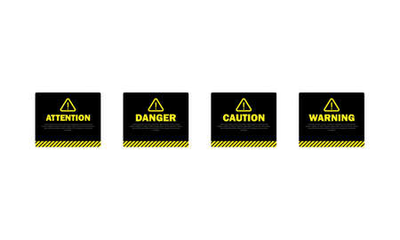 Warning, attention. caution and danger sign. Danger announcement. Dark theme.