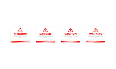 Danger, attention, warning, caution sign set. Be careful concept. Light theme. Vector on transparent isolated background