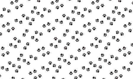 Dog footprint wallpaper. Pawprint. Vector on isolated white background.