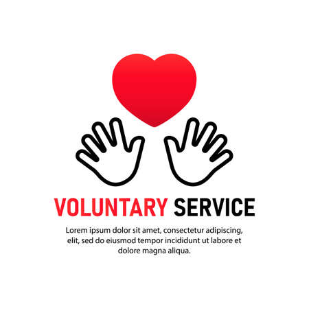 Voluntary service icon. Two hand keeping heart. Charity concept. Volunteers, support, hand, love, charitable organizations.
