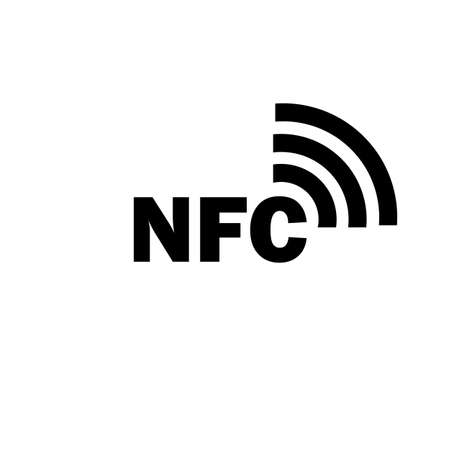 NFC sign in black. Con tactless payment. Vector on isolated white background.