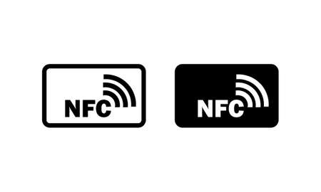 Contactless wireless payment sign. NFC icon in black. Vector on isolated white background.