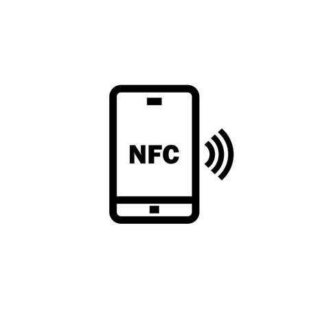 NFC with smartphone icon in black. Contactless payment. Vector on isolated white background. Иллюстрация
