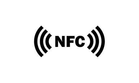 NFC icon in black. Wireless payment. Vector on isolated white background.
