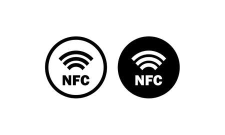 NFC payment icon in black. Contactless pay. Vector on isolated white background. 矢量图像
