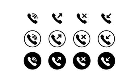 Phone icon set in black. Incoming, outgoing, missed and decline call. Vector on isolated white background. 向量圖像