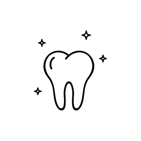 Tooth icon in black. Vector on isolated white background.