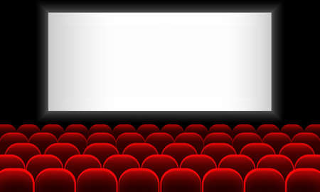 Cinema auditorium with screen and red seats. Vector on isolated white background. EPS 10.