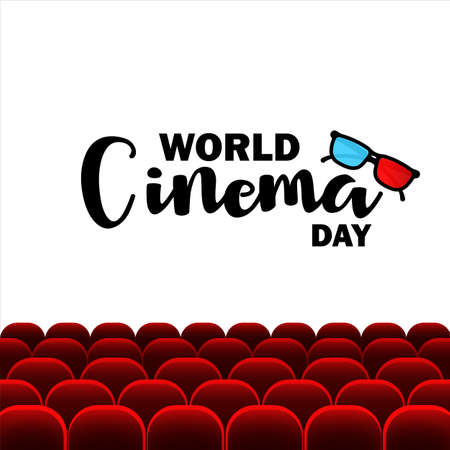 World cinema day banner. Movie industry. Vector on isolated white background. Vektorové ilustrace