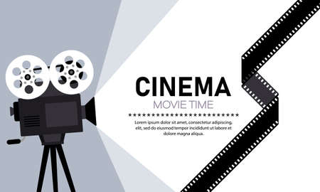 Cinema banner. Movie time. Camera. Vector on isolated white background.