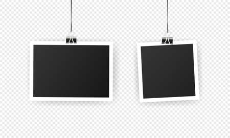 Photo frame. Mockup design. Blank photo frame set hanging on a clip. Black empty place for your text or photo. Vector solated on transparent background Vetores