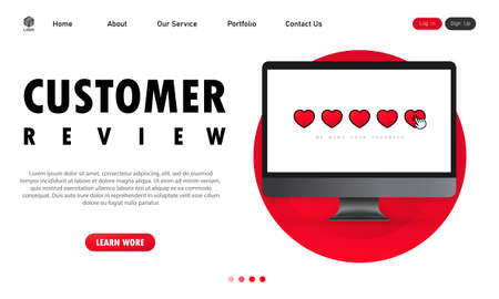 Customer review on computer banner. Giving five star feedback. Clients choosing satisfaction rating and leaving positive review. Vector on isolated white background. EPS 10