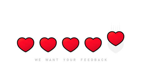Giving five heart rating. Review. We want your feedback. Positive feedback concept.