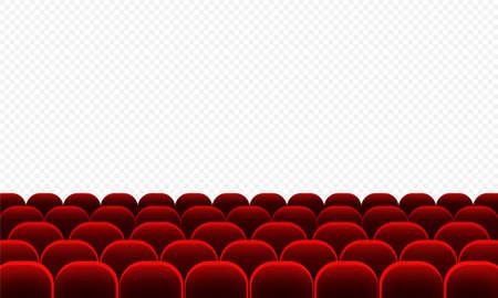 Cinema auditorium with red seats. Transparent screen.