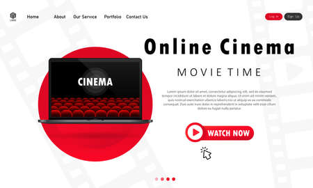 Online cinema illustration. Watching movies at home on laptop. Movie time. Vector EPS 10. Isolated on white background.