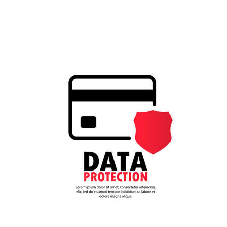 Protection shield Credit card. Defense safeguard finances icon. Security Plastic card software. Vector on isolated white background. Иллюстрация