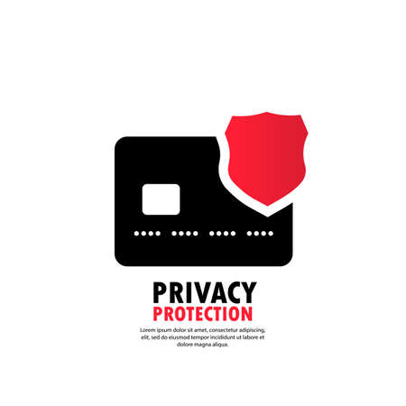 Privacy protection icon. Safety badge banking icon. Debit card guard electromagnetic chip. Privacy Electronic money funds transfer. Vector on isolated white background. Иллюстрация
