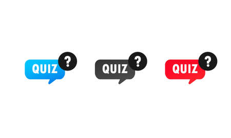 Quiz with question mark sign icon set. Questions and answers game symbol. Vector on isolated white background. Çizim