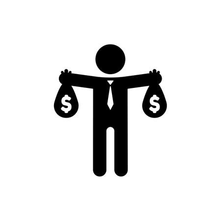 Businessman holding money bag in hands icon in black. Vector on isolated white background.