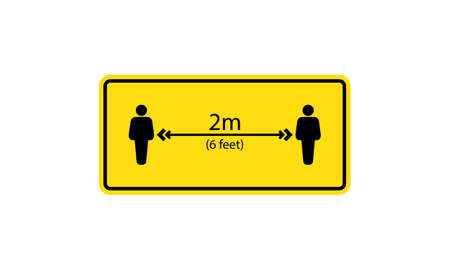 Social distancing icon. Keep your distance 6 feet sign. Vector on isolated white background