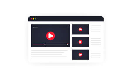 Video channel illustration. Watching vlog, webinars, lecture, video tutorial, lesson or training online. Vector on isolated white background. Illusztráció
