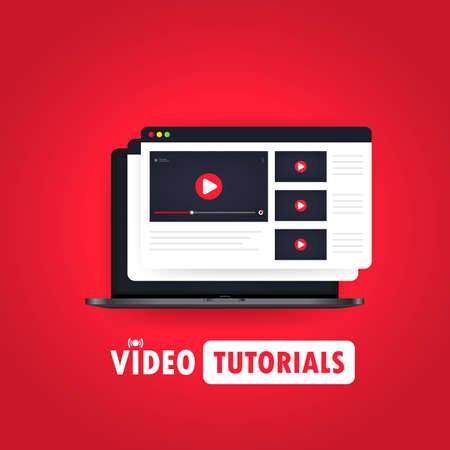 Video tutorials illustration. Watching streaming video, webinar, training online on laptop. Vector on isolated background. Illusztráció