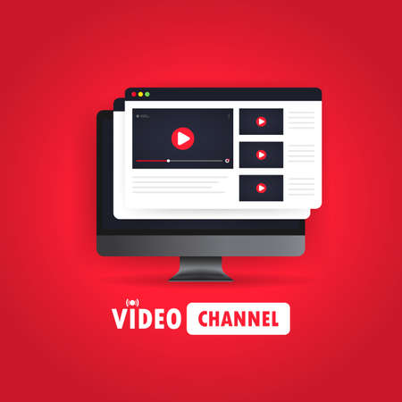 Video channel illustration. Watching vlog, webinars, training online on computer. Vector on isolated white background.
