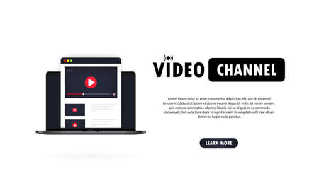 Video channel illustration. Watching vlog, webinars, lecture, lesson or training online on laptop. Vector on isolated white background. Illusztráció