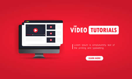 Watching video tutorials on computer illustration. Studying online at home. Online webinar, lectures, training. Vector on isolated background.