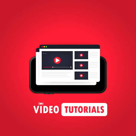 Watching video on smart phone illustration. Distance education concept. Webinar, video tutorial, online streaming. Vector on isolated background.