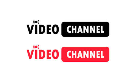 Video channel sign. Watching vlog, webinars, training online. Vector on isolated white background. Illusztráció