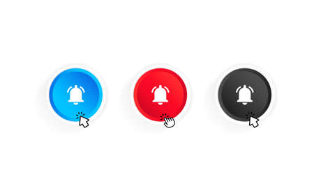Bell notification button and cursor icon set. Button subscribe to channel. Blog. Stream. Ui design. Social media network. Vector on isolated white background.